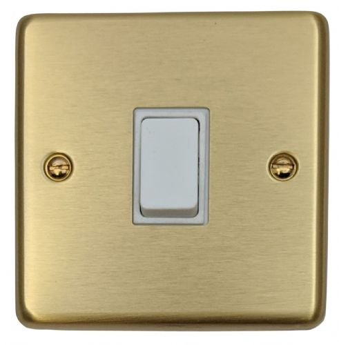 G&H CSB1W Standard Plate Satin Brushed Brass 1 Gang 1 or 2 Way Rocker Light Switch